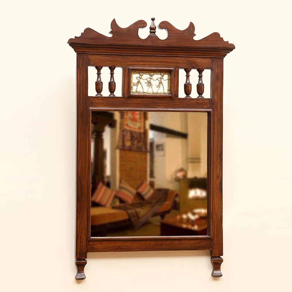 ExclusiveLane Teak Wood ''Royal'' Wall Mirror With Dhokra Work In Walnut Brown -