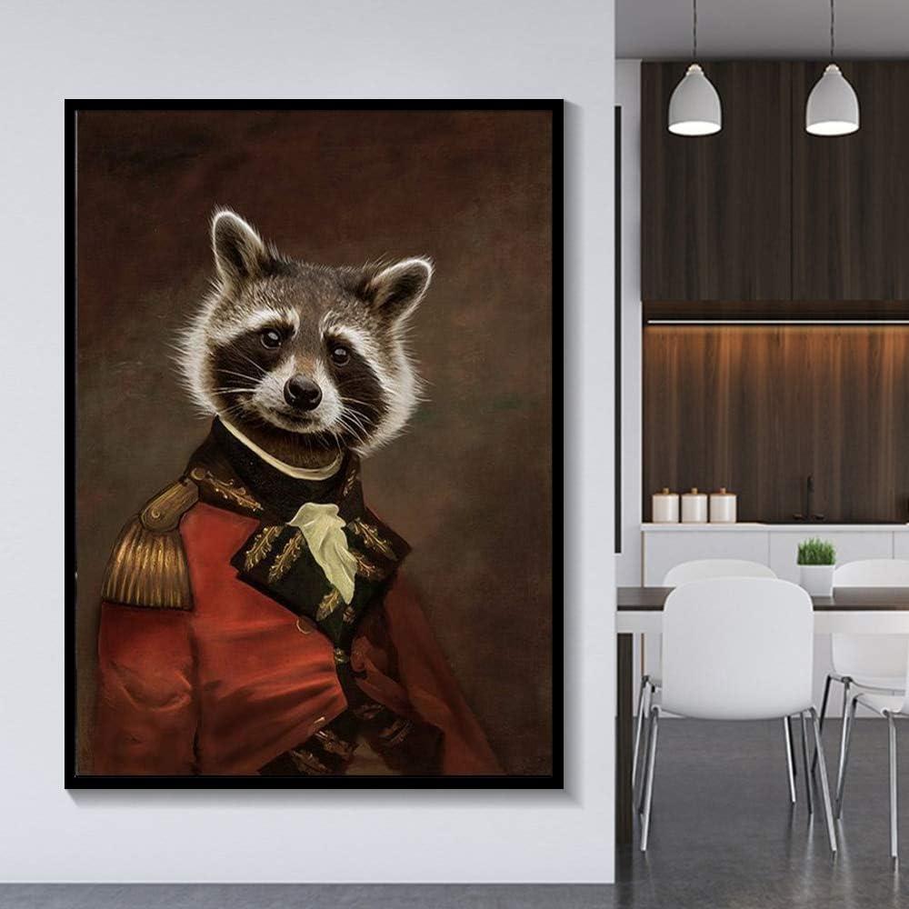 N / A Pintura sin Marco Elegante Blanco y Negro león Tigre Elefante Jirafa Lobo Caballo Arte de la Pared póster y Animales sobre Lienzo ZGQ6974 60X80cm