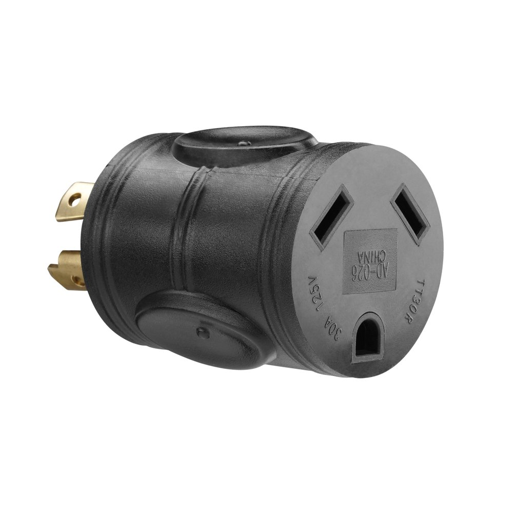 PowerFit PF922011 120 to 240-volt 4-Prong 20-Amp RV Male Plug Adapter Twist for 120-volt 30-Amp Female Connector