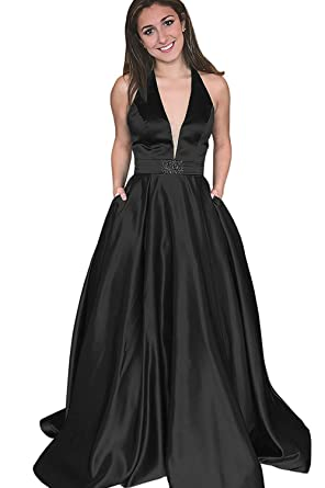 Yinyyinhs Womens V Neck Prom Dresses Halter Beaded Long Evening Formal Gowns with Pockets Size 2