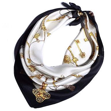 Helan femmes Réel Soie Naturelle 53cm X 53cm foulards de soie carrés Black  Golden Key d4678b62e5a