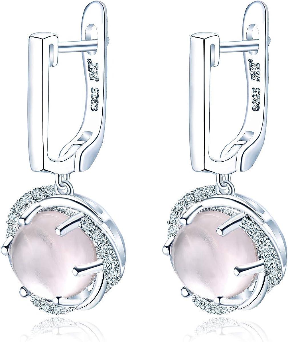 Hutang - Pendientes de clip de cuarzo rosa con piedras naturales de plata de ley 925 maciza, joyería de moda para regalo femenino