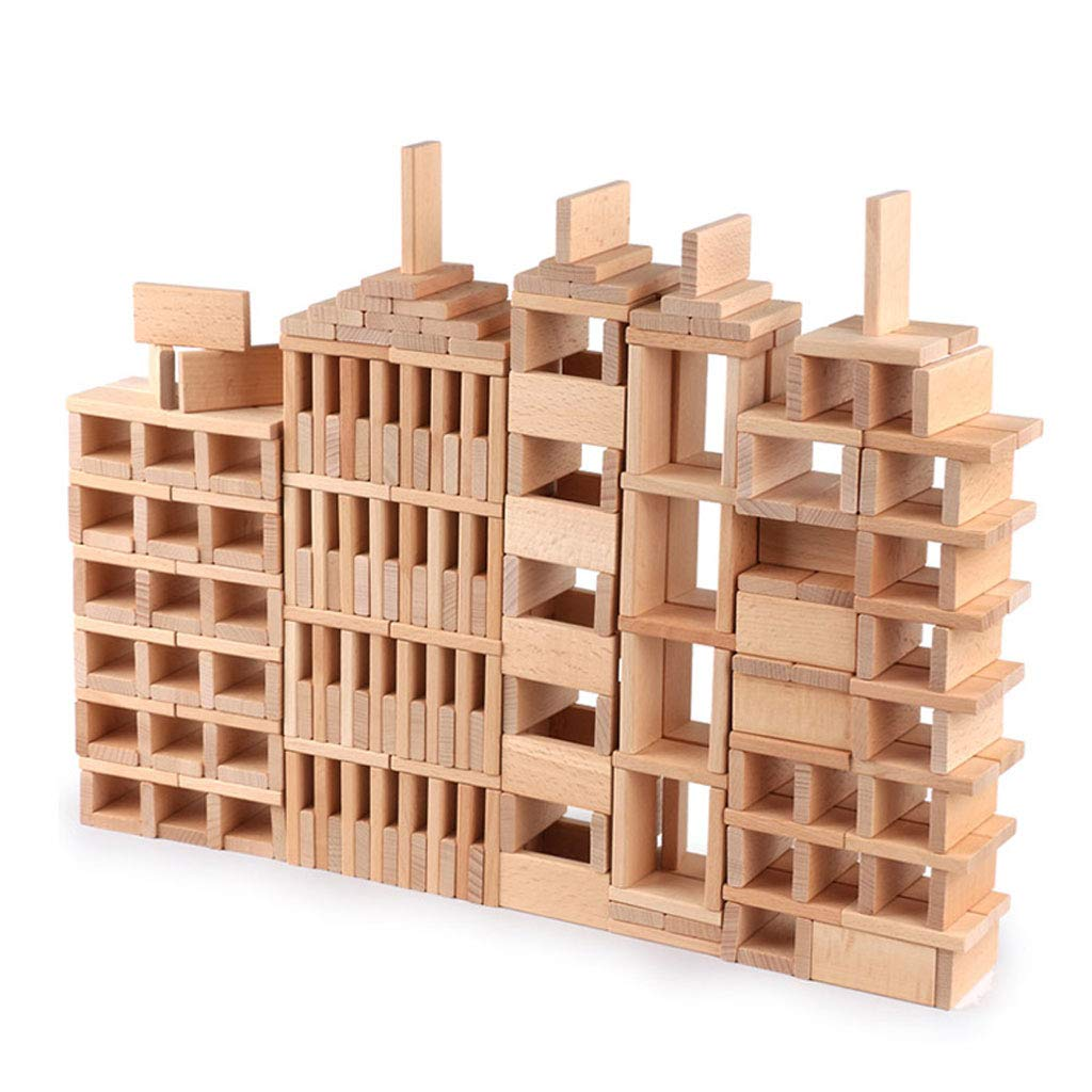 ZYN Children's Building Blocks Dominoes Creative Educational Toys Kindergarten Teaching Aids Beech Safe and Unpainted (Color : Wood Color (300 Pieces)) by ZYN (Image #1)
