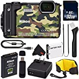 Nikon COOLPIX W300 Digital Camera (Camouflage) International Model + EN-EL12 Replacement Lithium Ion Battery + 32GB SDHC Class 10 Memory Card + SD Card USB Reader + Nikon Floating Strap Bundle