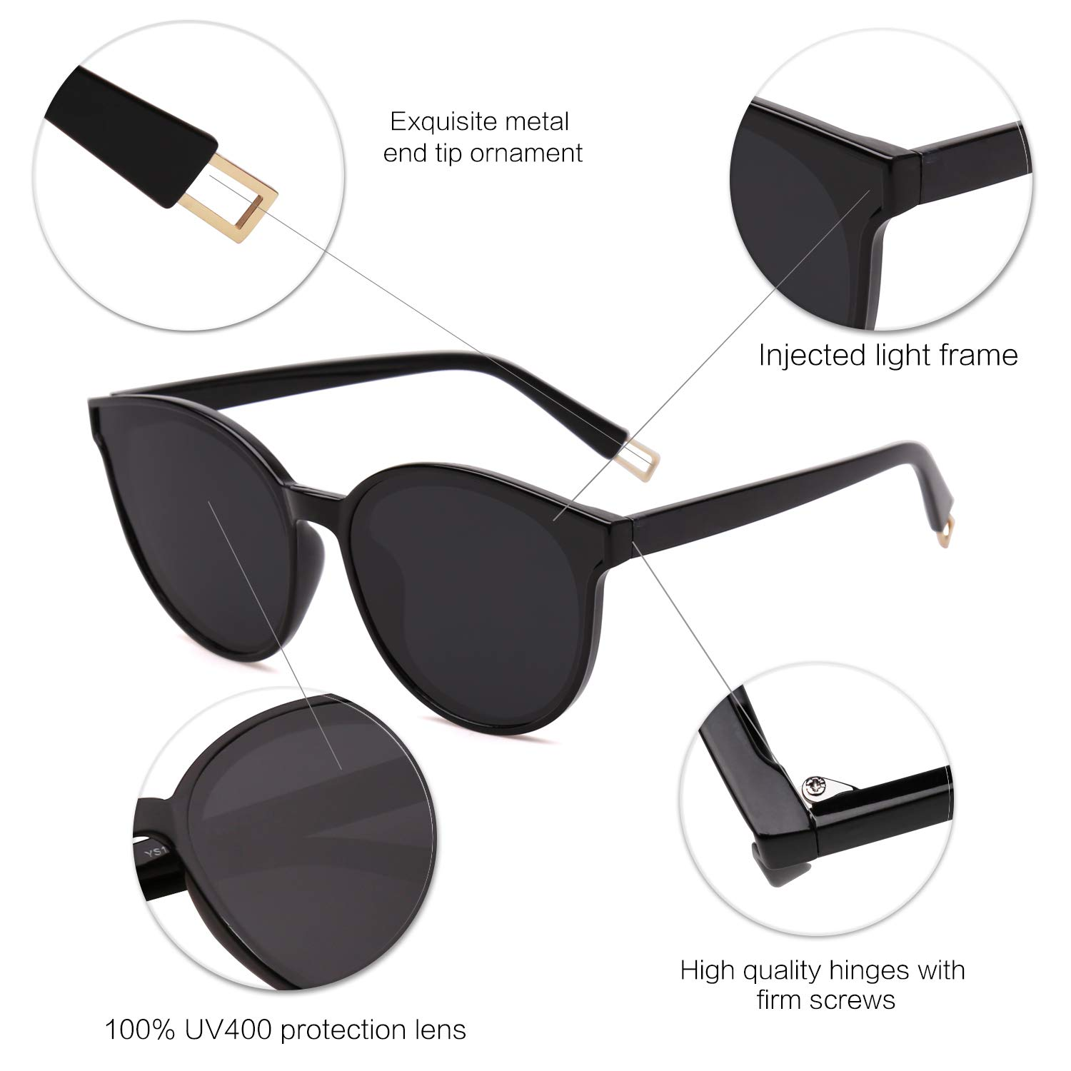 0de1d4ce79 Amazon.com  SOJOS Fashion Round Sunglasses for Women Men Oversized Vintage  Shades SJ2057 with Black Frame Grey Lens  Clothing