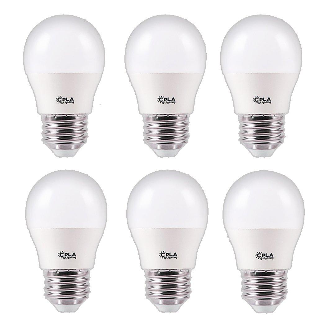 CPLA Ligthing Globe Replacement Light Bulbs for Ceiling Fan Home Ligthing Fixtures , 3W (25 Watt Equivalent) Warm Yellow 2700K E26 Medium Screw Base LED Vanity Light Bulbs, Pack of 6