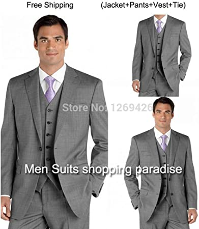 GFRBJK Trajes Excelentes Light Grey Groom Tuxedos Trajes de Hombre ...