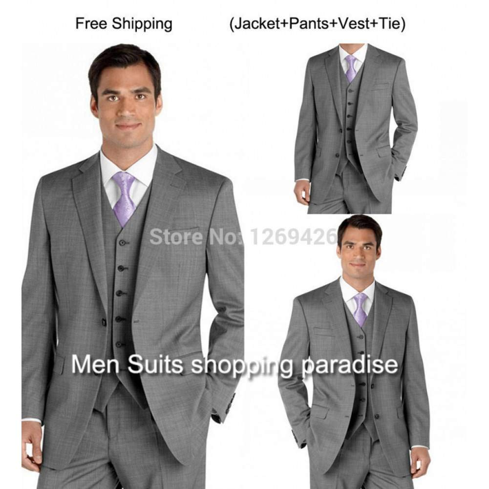 GFRBJK Excellent Suits Light Gray Groom Tuxedos Wedding Mens ...