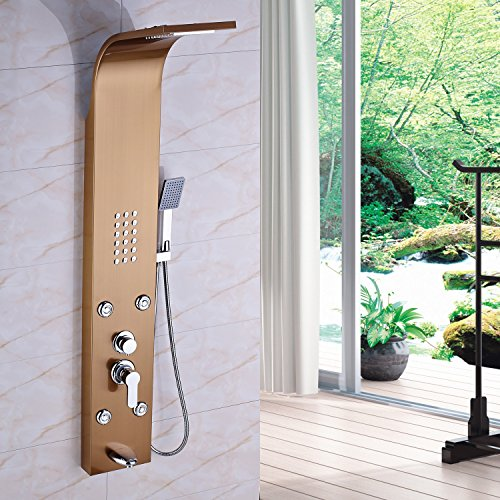 Chic Rozin Rose Gold Bathroom Rain Waterfall Shower Panel Faucet Set
