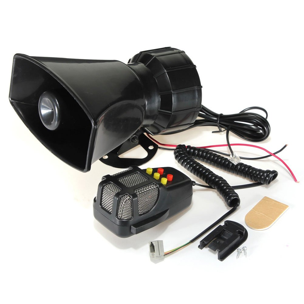 Car Siren Speaker,Loud Horn Siren for Car Boat Van Truck 105db 50W 12V 5 Sounds 7 Tone Sound Car Siren Vehicle Horn with Mic PA Speaker System Emergency Sound Amplifier(Black)