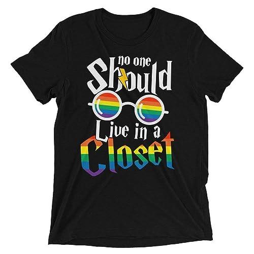 aaa29d0ccaef No One Should Live In a Closet LGBT Pride Rainbow Flag Lesbian Gay  Transsexual Transgender Bisexual Handmade T-Shirt Hoodie Long Sleeve Tank  Top Sweatshirt