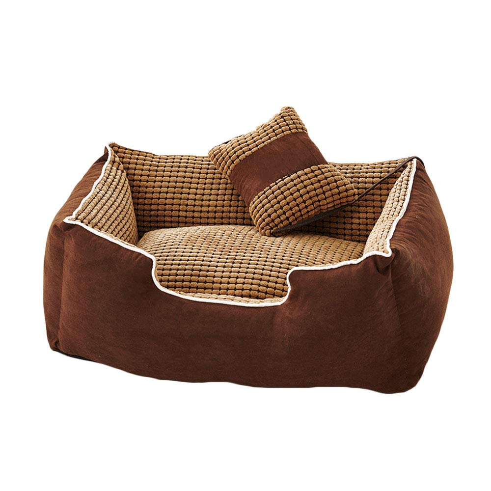Brown Large Brown Large Pet nest PU suede soft comfortable kitten small animal pet nest (color   BROWN, Size   L)