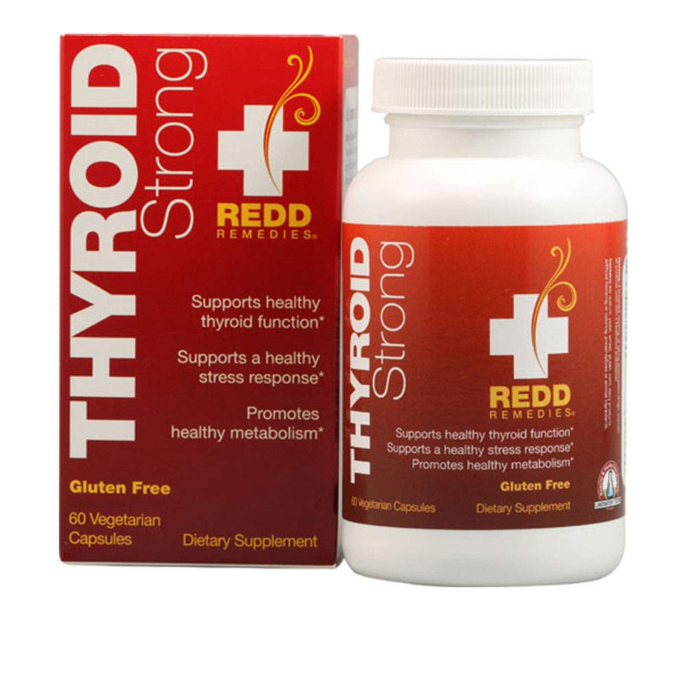 Redd Remedies Thyroid Strong Natural Support with Iodine Supplement for Energy Metabolism Boost 60 Tablets
