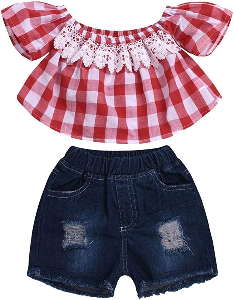 Hole Shorts Outfits 2pcs Baby Girls Fashion Suit Off Shoulder Striped Floral Shirt Top
