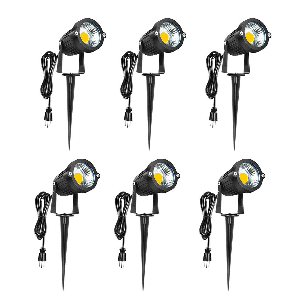 LED Landscape Lights 120V - 3000K Warm White 5W Spot Light Outdoor, Pathway Light, IP65 Waterproof COB Super Bright Light for Driveway, Yard, Lawn, Patio, Garden Lights with Spike Stand(6 Pack)