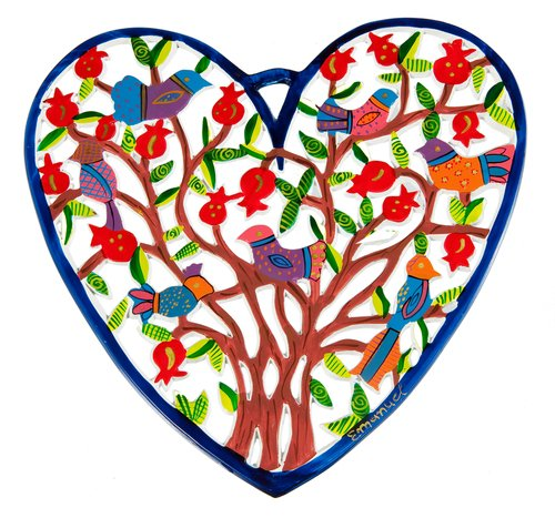 Bundle Yair Emanuel SMALL HEART LASER CUT HAND PAINTING BIRDS Jewish Home Blessing