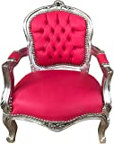 Casa-Padrino Silla de niños barroca Look de Cuero Rosa/Plata - Muebles para niños