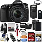 Canon EOS 80D Wi-Fi Digital SLR Camera & EF-S 18-135mm IS USM with 75-300mm III Lens + 64GB Card + Battery & Charger + Backpack + Tripod + 2 Lens Kit