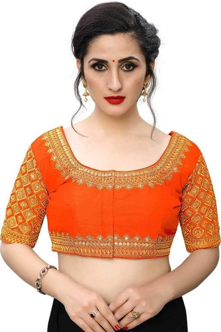 Readymade Blouse Saree Banglory Silk Blouse Party Wear Blouse Saree Latest Saree Blouse 179 Orange