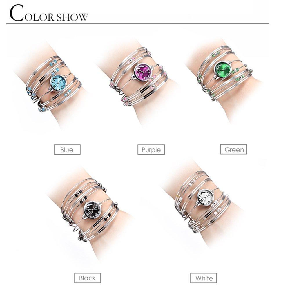 Womens Quartz Bracelet Watch Fashion Analog Multilayer Stainless Steel Ladies Jewelry Watches Women Wristwatch on Sale (Blue) by AEHIBO (Image #6)