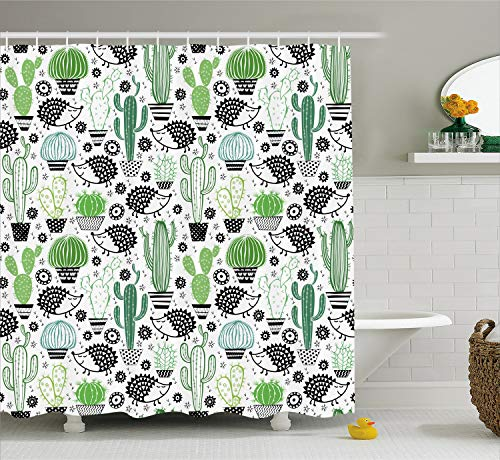 Ambesonne Cactus Decor Shower Curtain, Cartoon Inspired Drawing of Cute Hedgehog Animals Saguaro and Prickly Pear, Fabric Bathroom Decor Set with Hooks, 75 inches Long, White Green ()