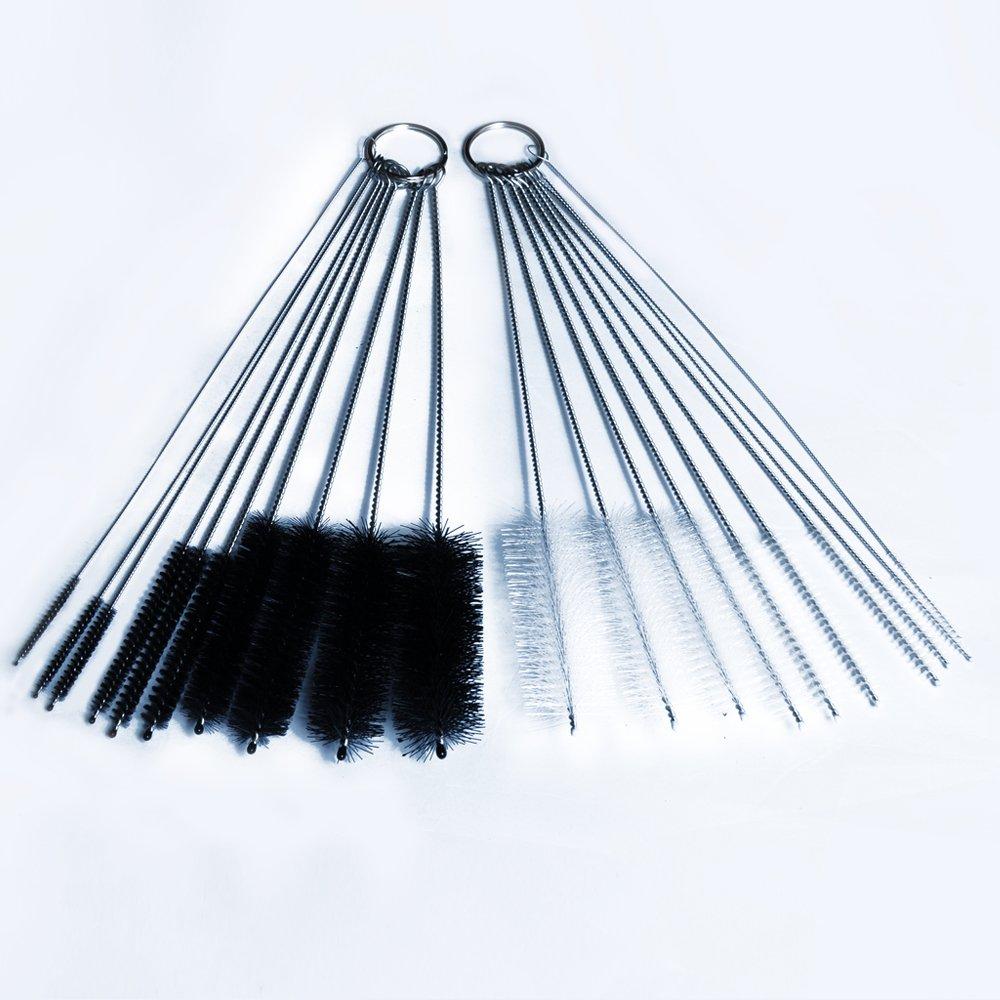 DXG cepillo de limpieza Set, 8,2 cm tubo de nylon cepillo Set para pajitas, gafas, teclados, para limpiar las joyas, Juego de 20, Negro y Blanco: Amazon.es: ...