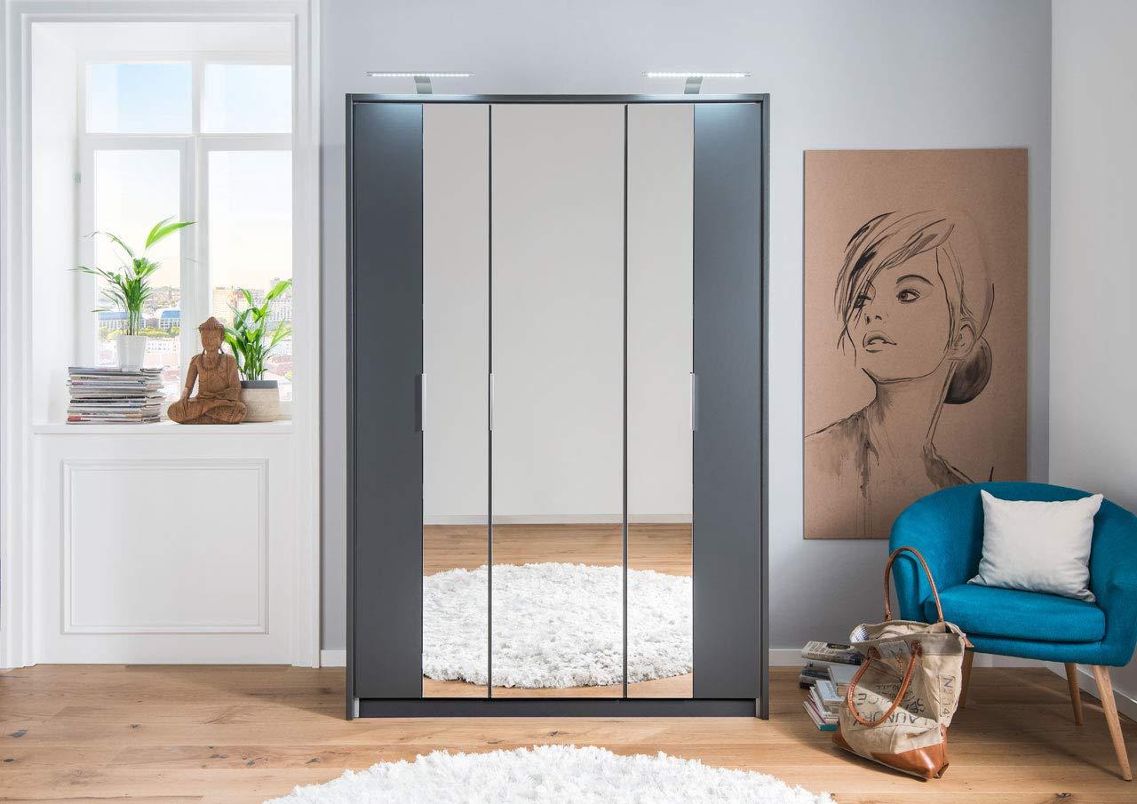 lifestyle4living Kleiderschrank in Aluminium-Nachbildung   Drehtürenschrank mit Absetzungen in Graphit, 3-türig, Falttürenschrank mit Spiegeltür ca. 139 cm