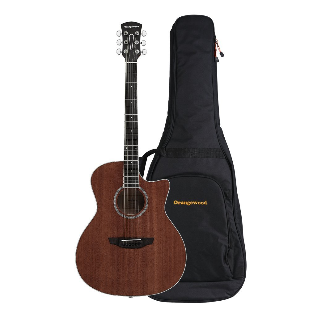 Orangewood Rey Grand Auditorium Cutaway Acoustic Guitar with Mahogany Top, Ernie Ball Earthwood Strings, and Premium Padded Gig Bag Included by Orangewood