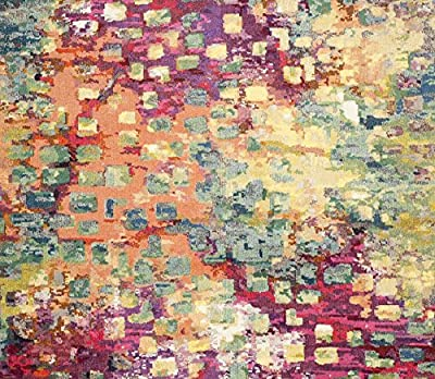 """Safavieh Monaco Collection MNC225D Modern Abstract Watercolor Pink and Multi Area Rug (5'1"""" x 7'7"""")"""