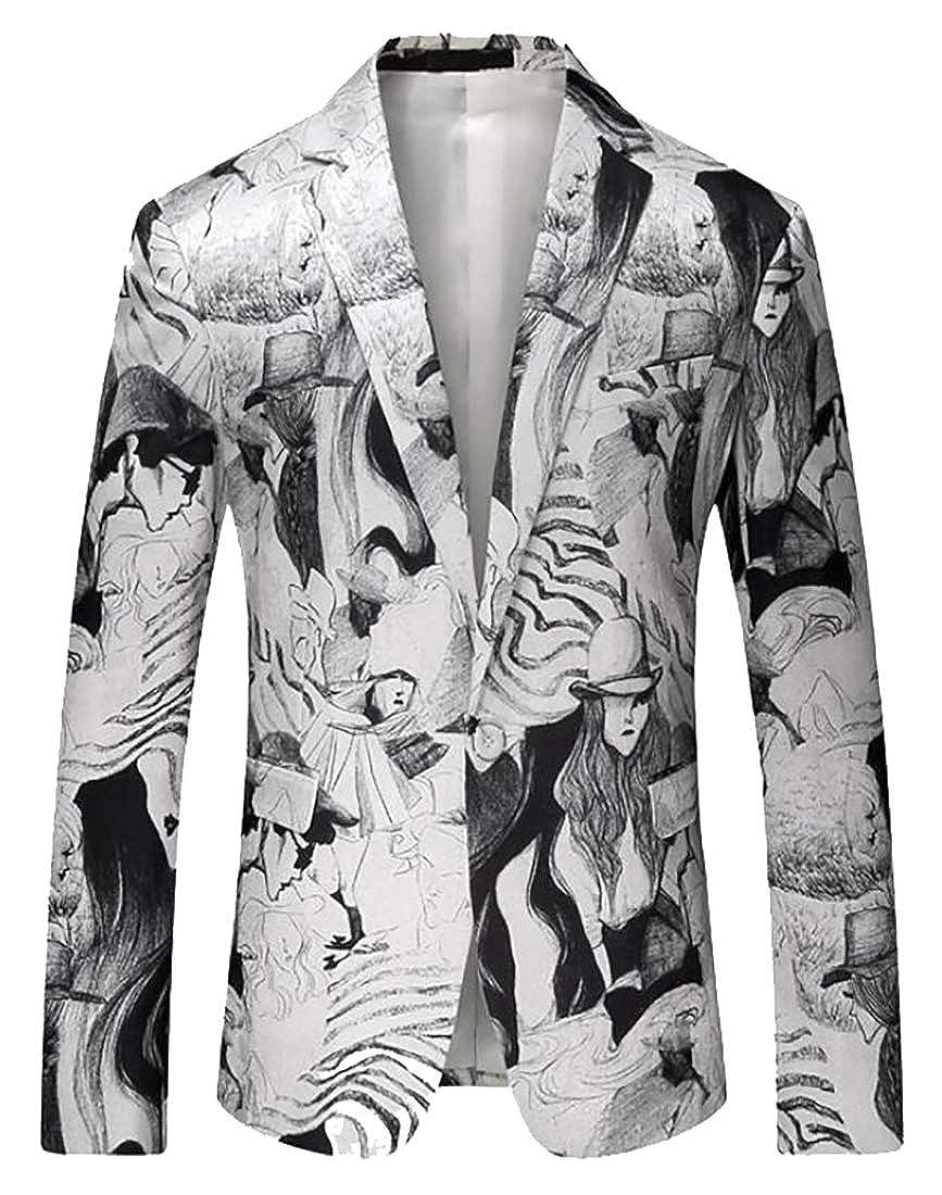 CBTLVSN Mens Fashion Nightclub Slim Fit One-Button Print Pattern Party Suit Blazer Jackets