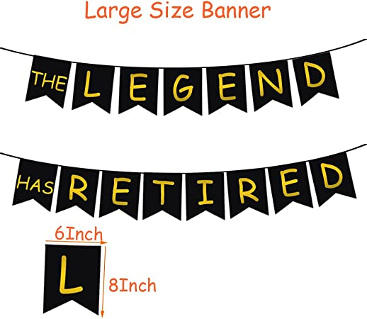 THE LEGEND HAS RETIRED Party Decorative Banner 30 Pcs Latex Balloons Retired Sash Ideal for Retirement Party Decorations with Air Pump Aiernuo