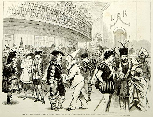 1875 Wood Engraving Liederkranz Society Carnival Masquerade Party NYC Costumes - Original In-Text Wood Engraving
