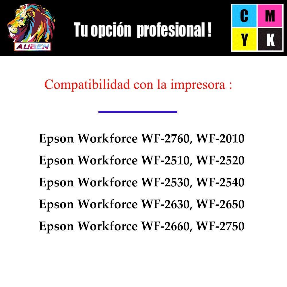 AUBEN 16XL para Epson 16 Cartuchos de Tinta Compatibles con Epson Workforce WF-2630 WF-2750 WF-2540 WF-2530 WF-2510 WF-2520 WF-2650 WF-2010 WF-2660 ...