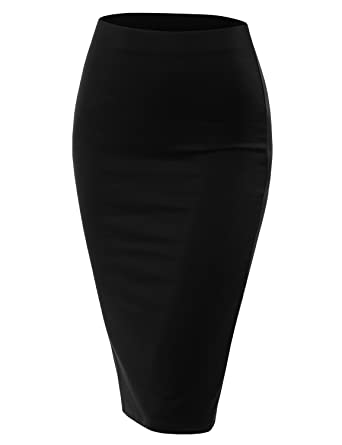 10bba946c Doublju Stretch Knit Midi Pencil Skirt with Back Slit for Women with Plus  Size Black Small