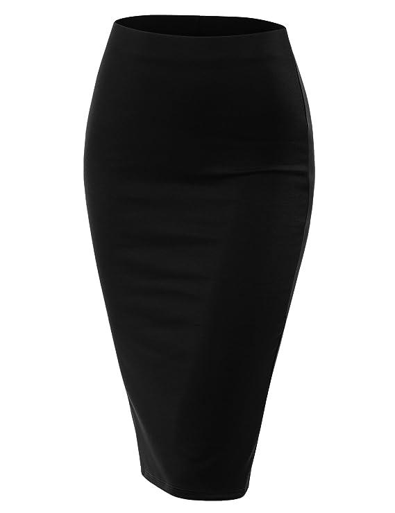 fd03c83cca Doublju Stretch Knit Midi Pencil Skirt Back Slit Women Plus Size at Amazon  Women's Clothing store: