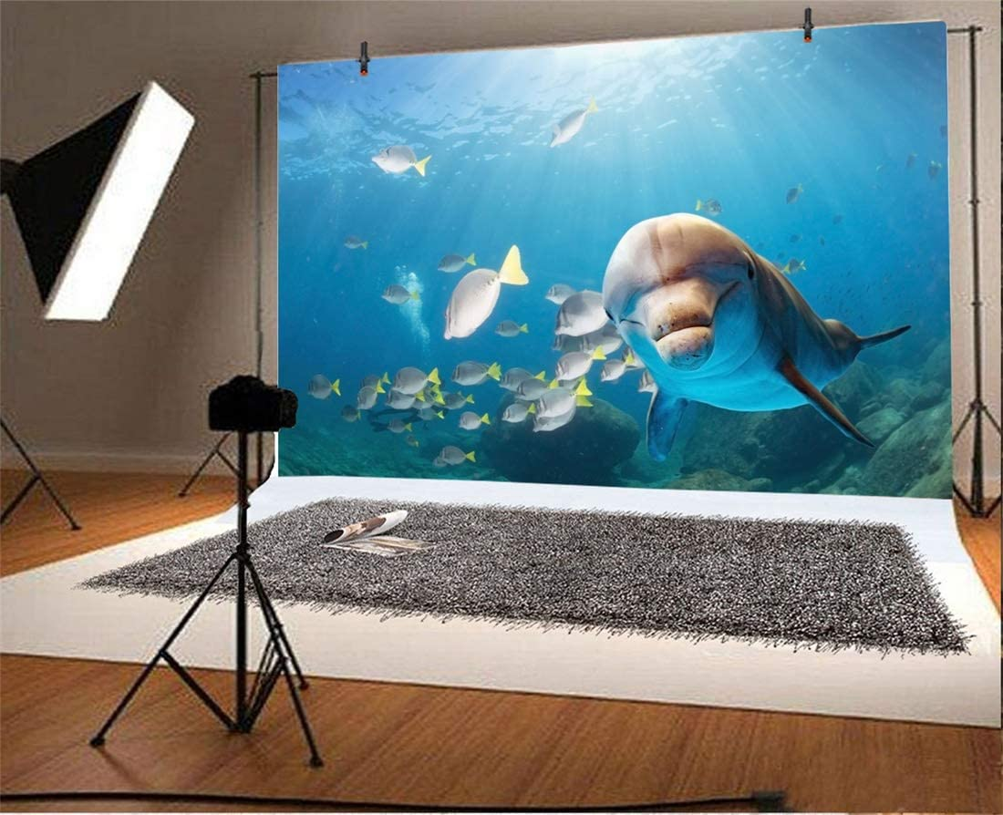 Yeele 10x8ft Photography Backdrop Dolphin Tropical Fish Coral Sunshine Seabed Underwater Blue Sea Floor Photo Backdrop Portrait Shooting Studio Props Wallpaper Under The Sea Backdrop