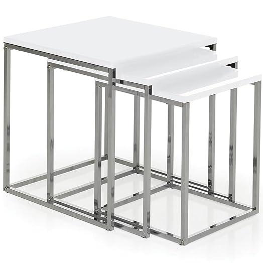 Vida Designs Casa Vida Aztec Nest Of Tables, White Gloss Square Chrome  Modern Living Room Part 82