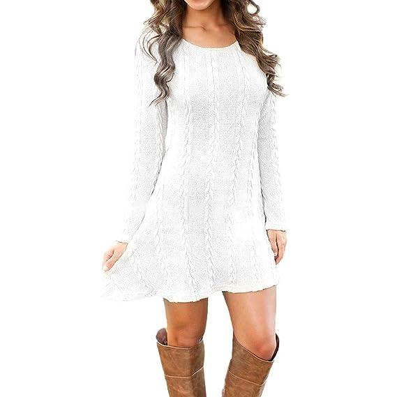 Weant Vestito Maglione Vestiti Donna Invernali Donna Elegante Abito Maglia  Mini Abito Donna Autunno Vestiti Manica Lunga Maglieria Pullover Jumper  Maglione ... ceb71cb5ec5