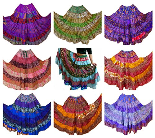 Pack of 5-7 Yard Tribal Gypsy Maxi Tiered Skirt Belly Dancing Skirts Silk Blend M L