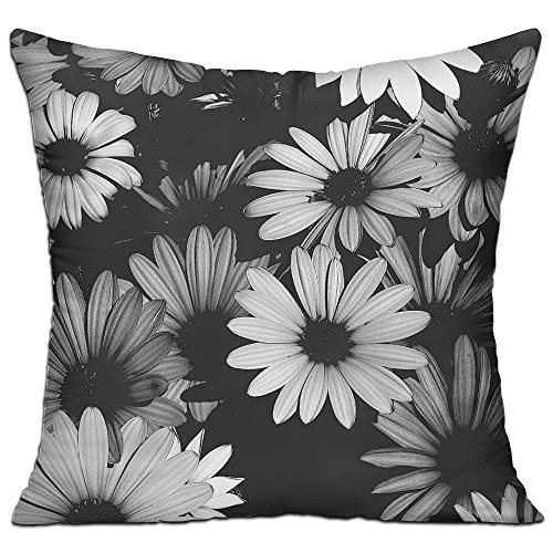 Black and White Gerber Daisy Cotton Square Throw Pillow Decorative Cushion for Sofa/Bed/Office/Shop (with Insert)