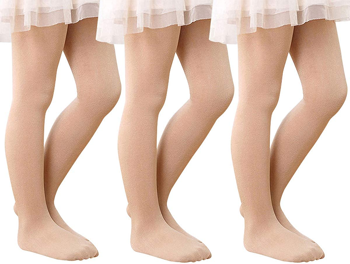 MODNTOGA Baby Girls Stretchy Ballet Dance Tights Soft White Nude Leggings Pants Elastic Ballet Footed Tight