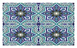 Lunarable Arabian Doormat, Arabesque Pattern Tradicional Art Design Geometry Persian Damask Inspired Design, Decorative Polyester Floor Mat Non-Skid Backing, 30 W X 18 L inches, Turquoise