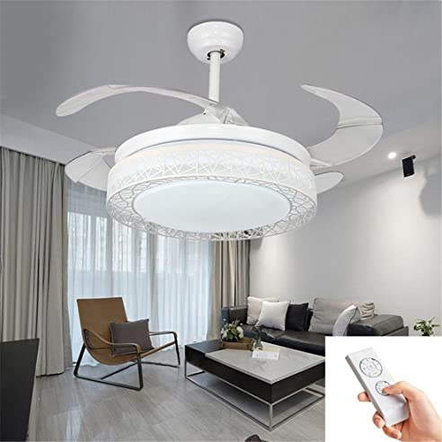 kreativ led deckenleuchte mit ventilator fernbedienung automatisch einziehbar unsichtbar abs klingen modern deckenventilator mit licht - Einziehbarer Deckenventilator