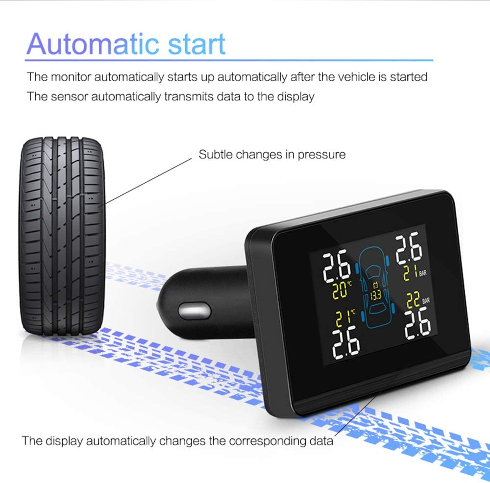 ANYOTA Tire Pressure Monitoring System Wireless TPMS Real-time Monitor Dual USB Port with 4 External Sensors