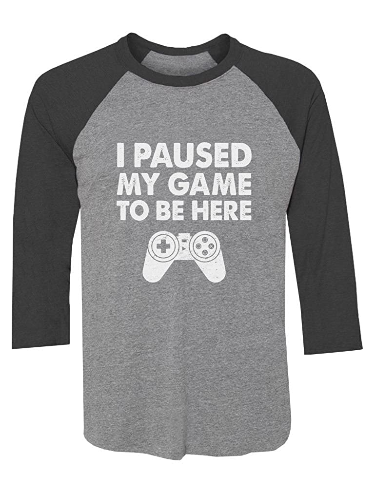 Tstars I Paused My Game to Be Here Funny Gamer Gift 3/4 Sleeve Baseball Jersey Shirt GZrrPMPgJW