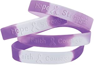 Fun Express 12 Purple Ribbon Camouflage Silicone Bracelets - Support Pancreatic Cancer, Alzheimer's, Lupus, Animal Abuse, Crohn's Disease