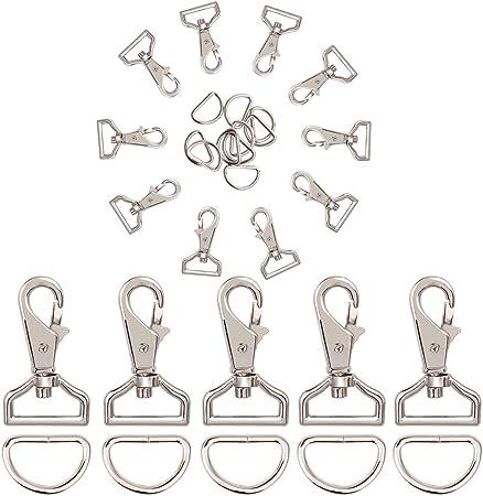 Porte-clés avec Anneau en Métal Mousqueton Clip Crochet Boucle pour Sac à