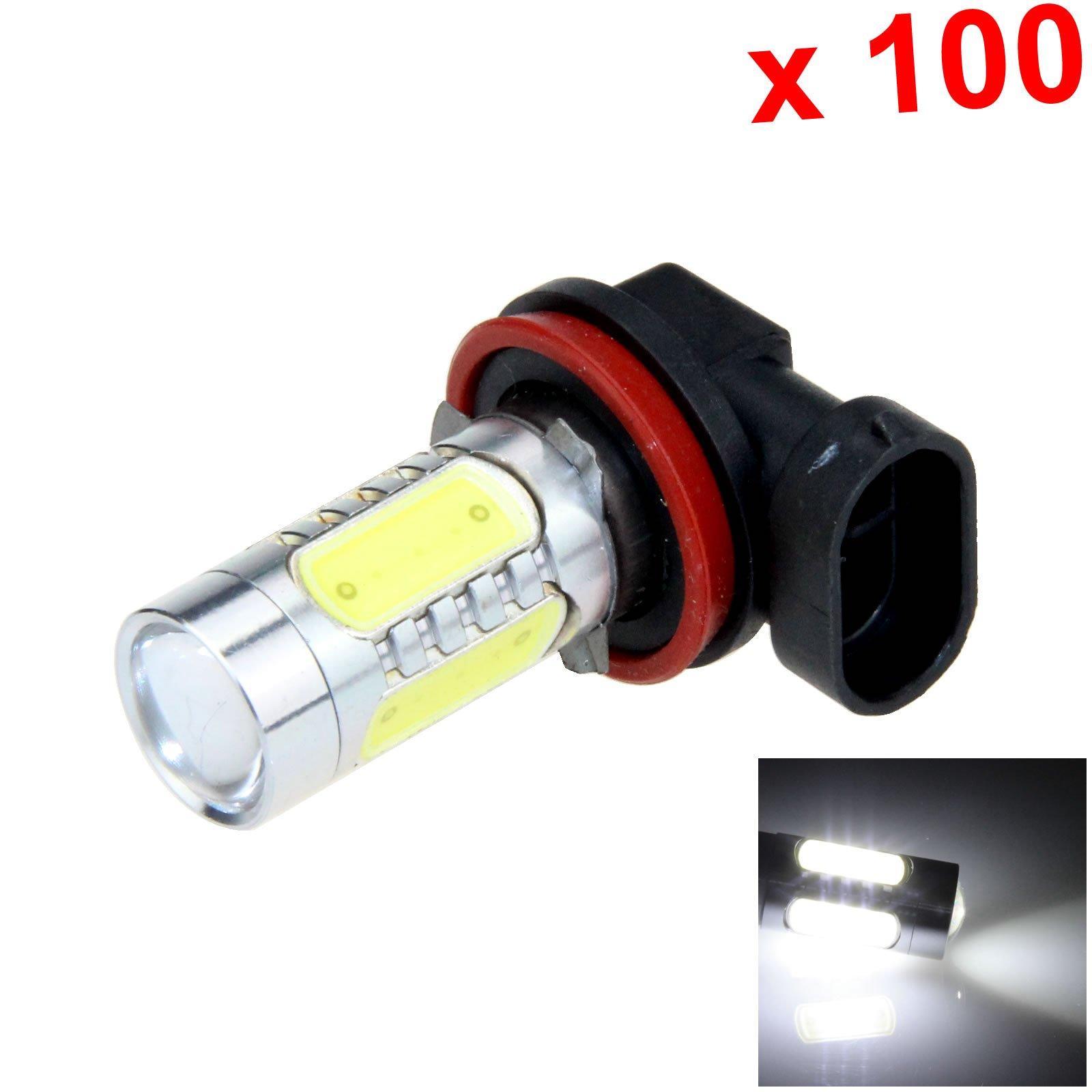 ZHANSHENZHEN White RV H11 Signal Blub Fog Lamp 4x COB SMD +1 CREE LED 5 Emitters DC 12V PGJ19-15 H211-W (Pack of 100)