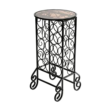 Southern Enterprises Glass Top 15 Wine Bottle Storage Table, Black Finish
