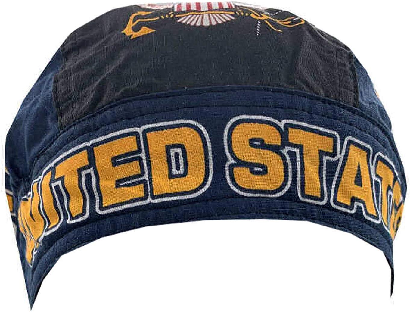 Sparkling Earth Danbanna Deluxe Skull Cap Biker caps Headwraps doo Rags US Navy Combat Stars